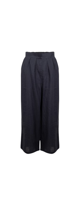 Tirelli Cropped Pocket Linen Pant Deep Navy
