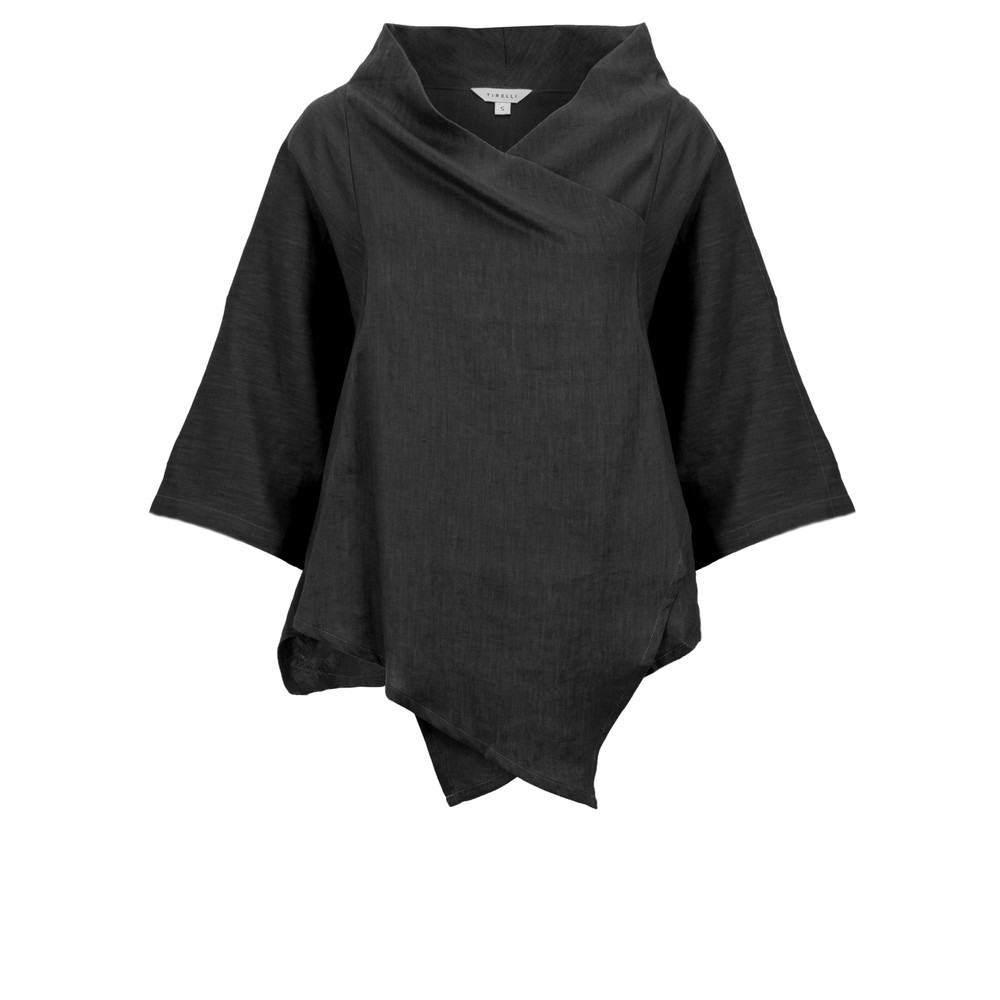 Tirelli Cowl Neck Linen Top Black