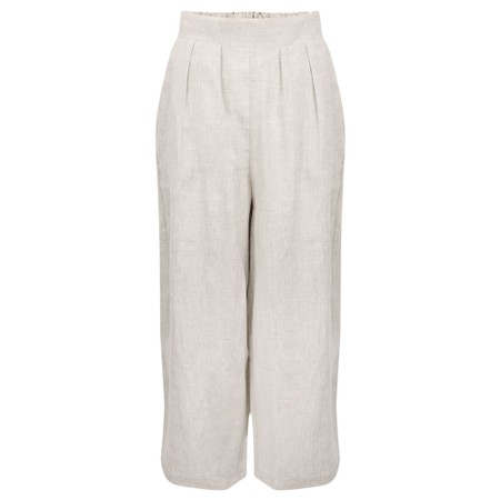 Tirelli Cropped Pocket Linen Pant - Beige