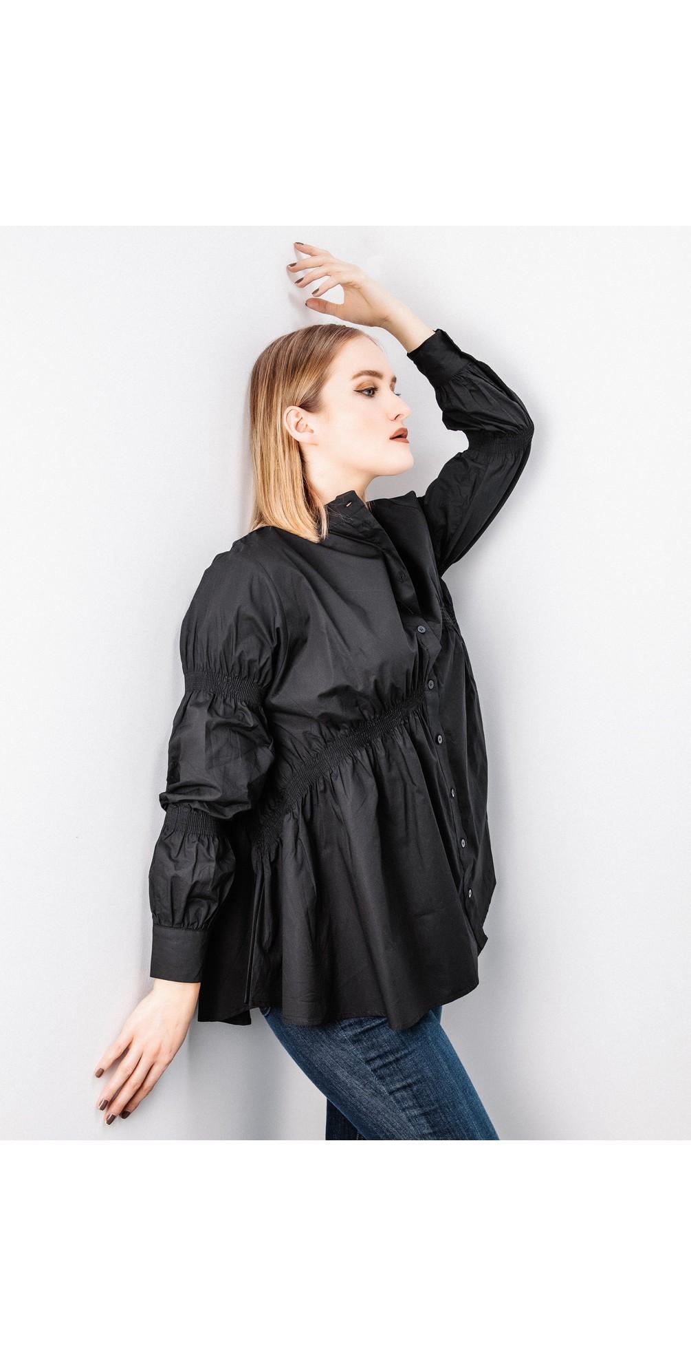 Straight Hem Shirring Shirt main image