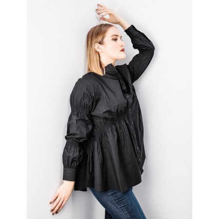 Tirelli Straight Hem Shirring Shirt - Black