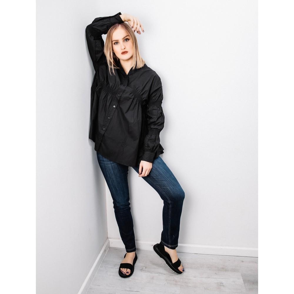Tirelli Straight Hem Shirring Shirt Black