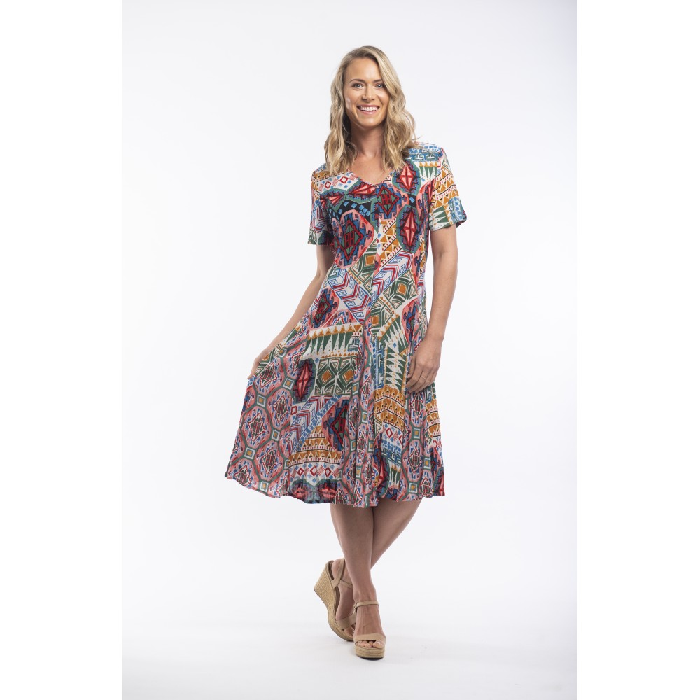 Orientique Santiago Godet Dress Bright Multi