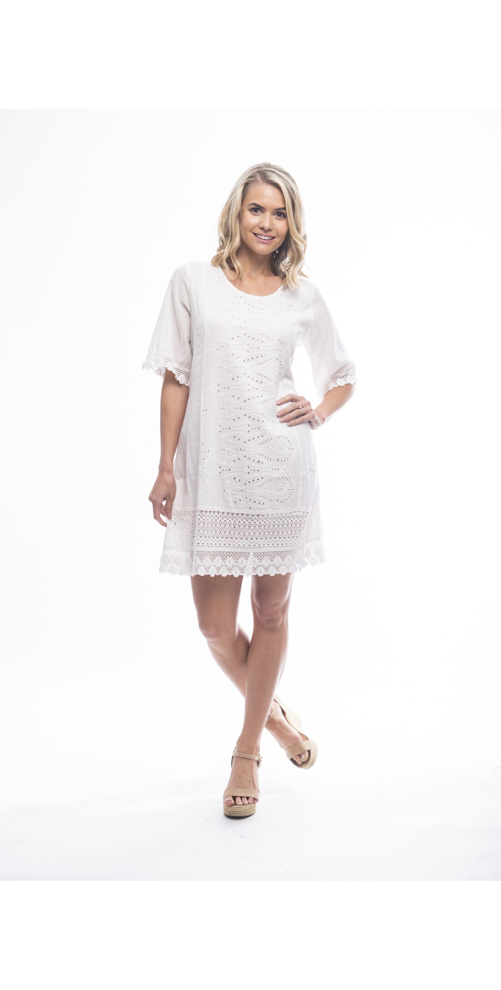 Certified Organic Broderie Dress main image