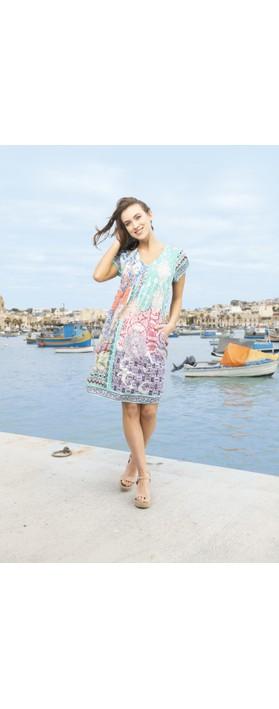 Orientique Madeira Easy Fit Dress Aqua Coral Multi