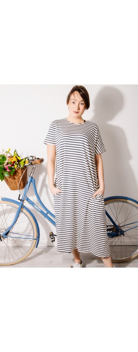 Mama B Tappo R Stripe Maxi Dress Blu Stripe