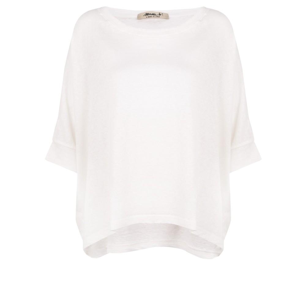 Mama B Lago L Fine Linen Jumper Bianco