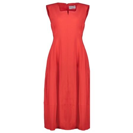 Foil Trapeze Lantern Dress - Red