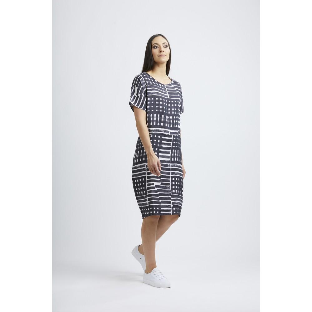 Foil Scaling Up Linen Dress Cross Lines