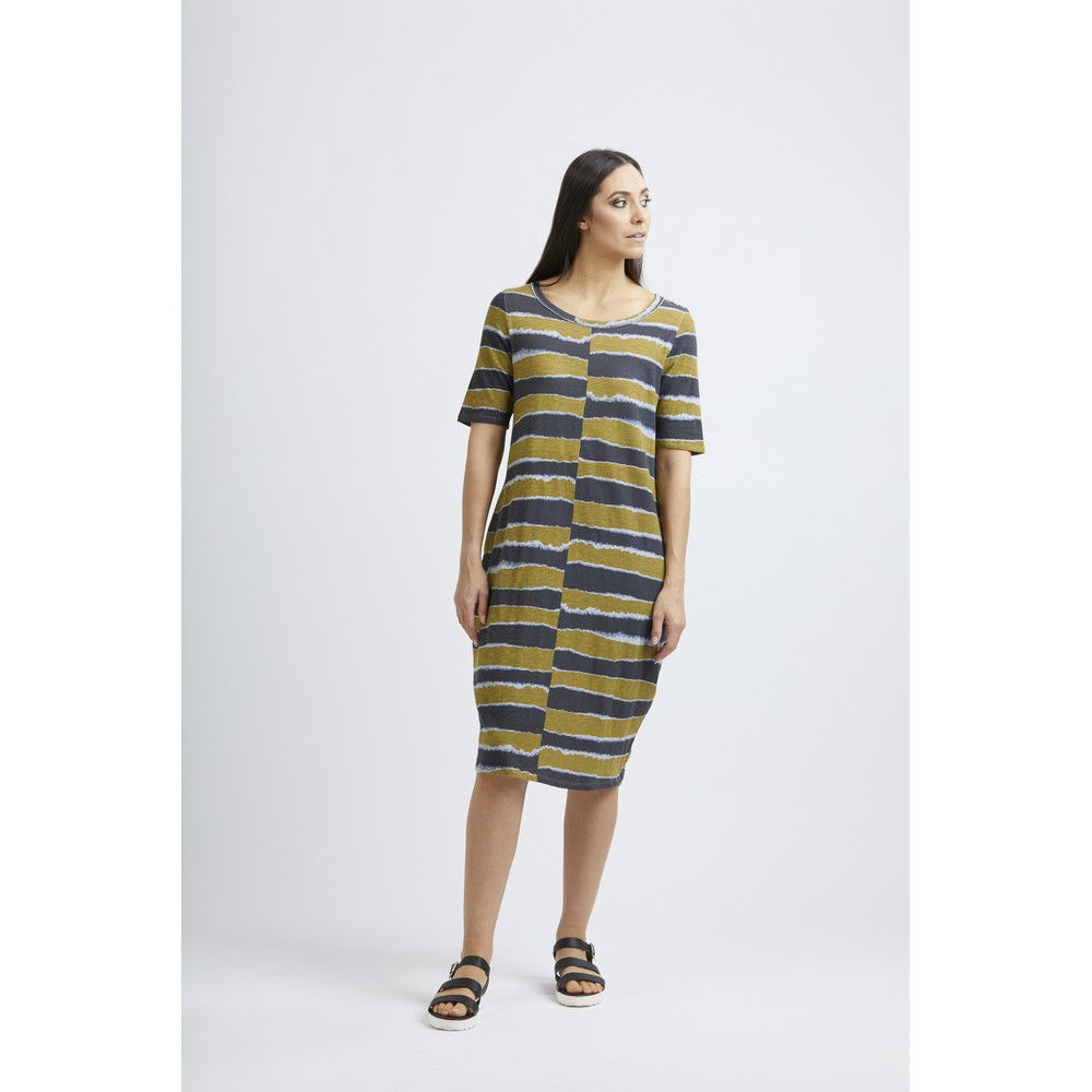 Foil Shape of My Art Swing Dress Batik Stripe