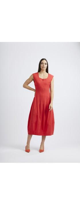 Foil Trapeze Lantern Dress Tomato