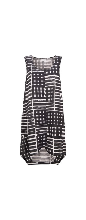Foil Cut To The Chase Linen Tunic Cross Lines