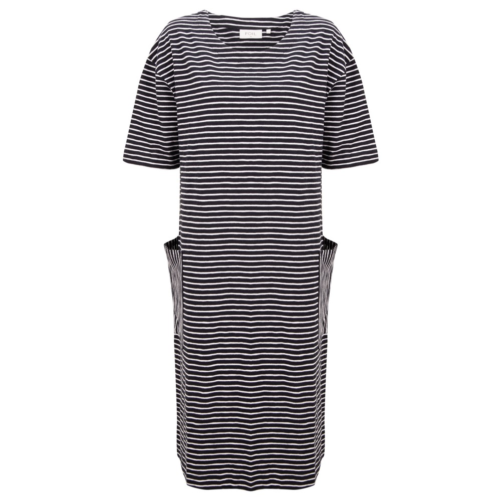 Foil Straight Talker Dress Navy Stripe