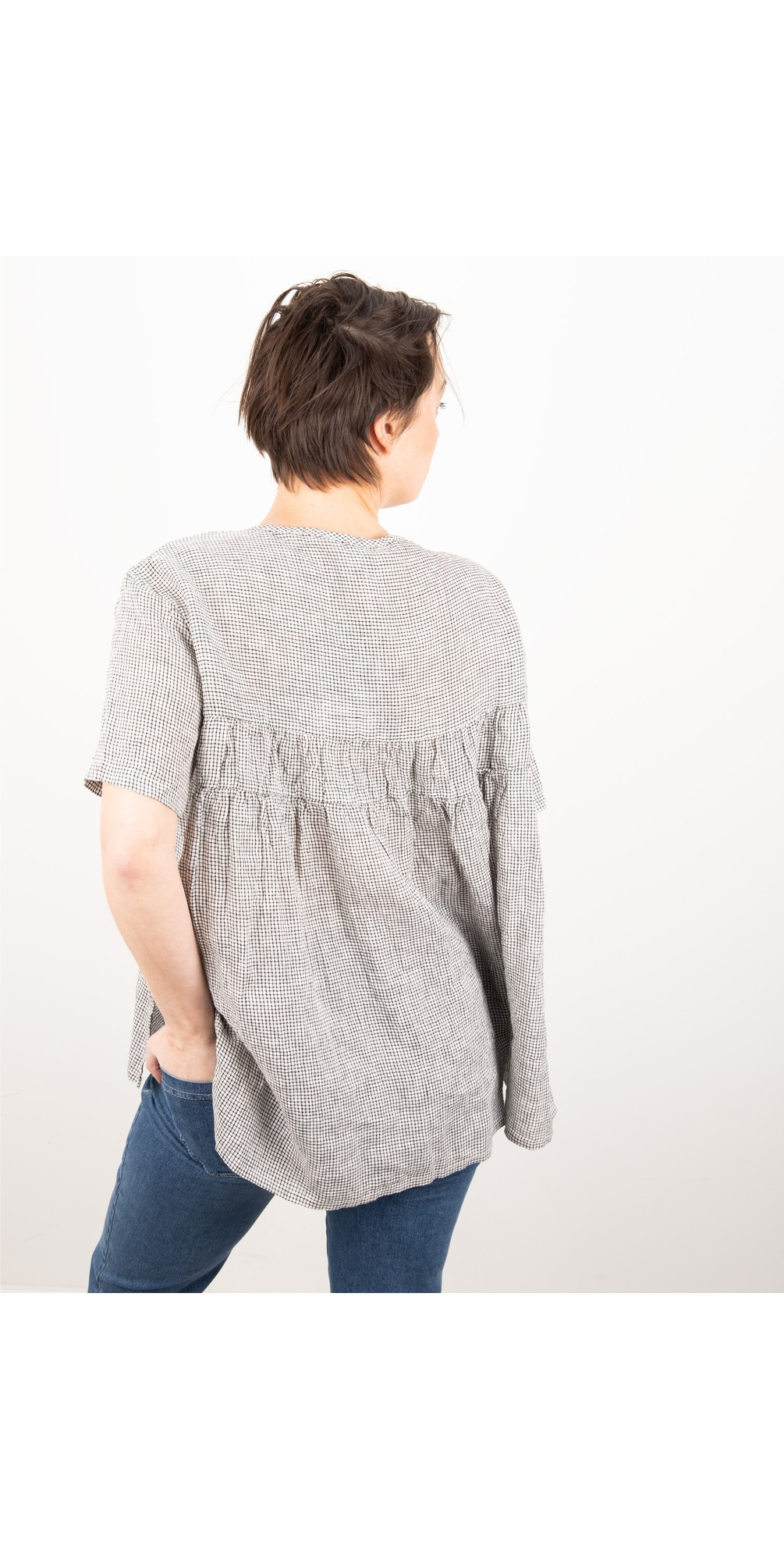 Check Gather Back Blouse main image