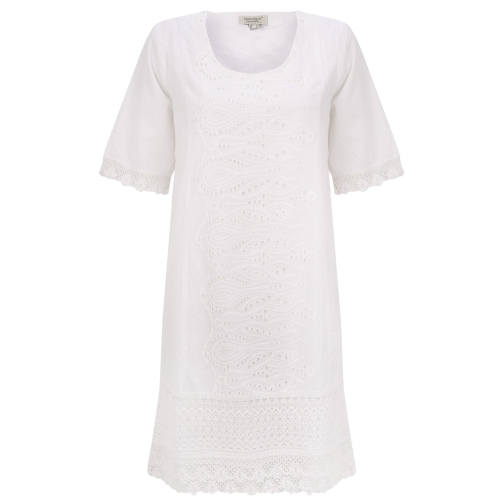 Orientique Certified Organic Broderie Dress White