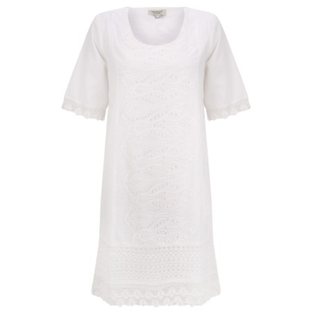 Orientique Certified Organic Broderie Dress - White