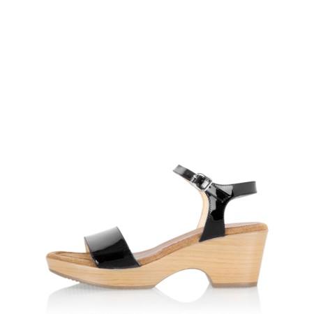 Gemini Label Shoes Aneka Icon Black Patent Wedge Sandal - Black