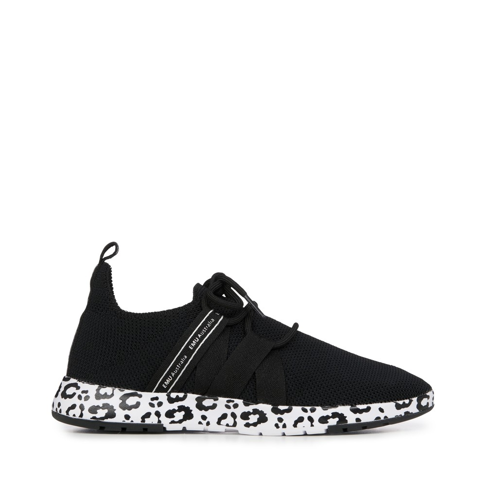EMU Australia Leura Black Leopard Washable Sneaker Black Leopard