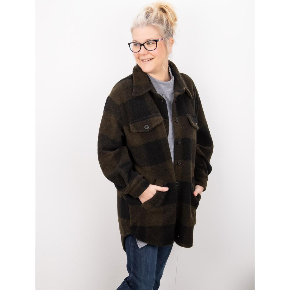 Amazing Woman Montreux Boiled Wool Shacket Black / Khaki
