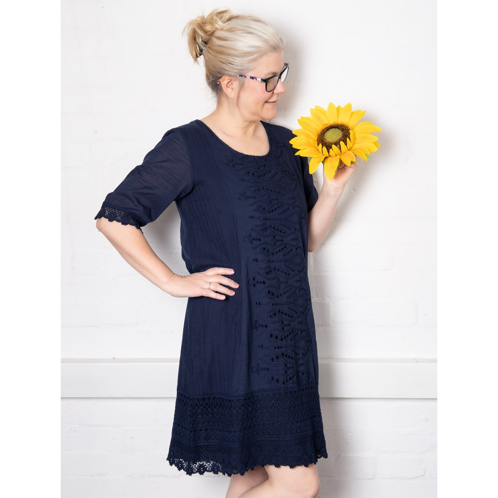 Orientique Certified Organic Broderie Dress Navy