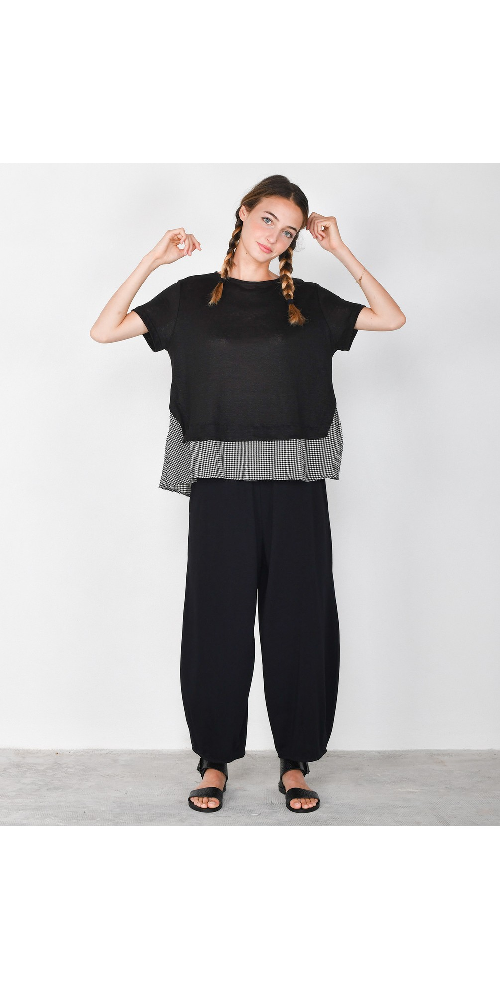 Ally Linen Layered Top main image