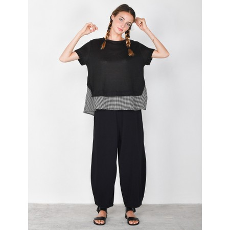Mama B Ally Linen Layered Top - Black