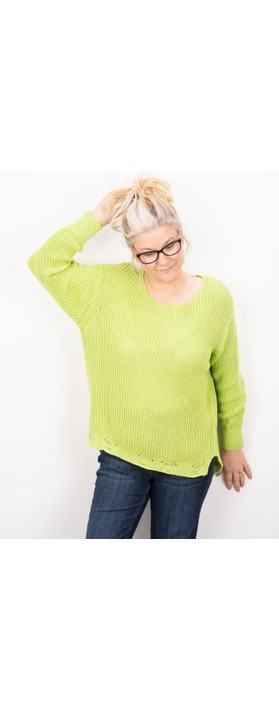 Amazing Woman Vonnie Fine Knit Summer Jumper Flo Green
