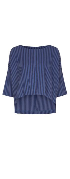 Thing Reba Cotton Stripe Top Sapphire