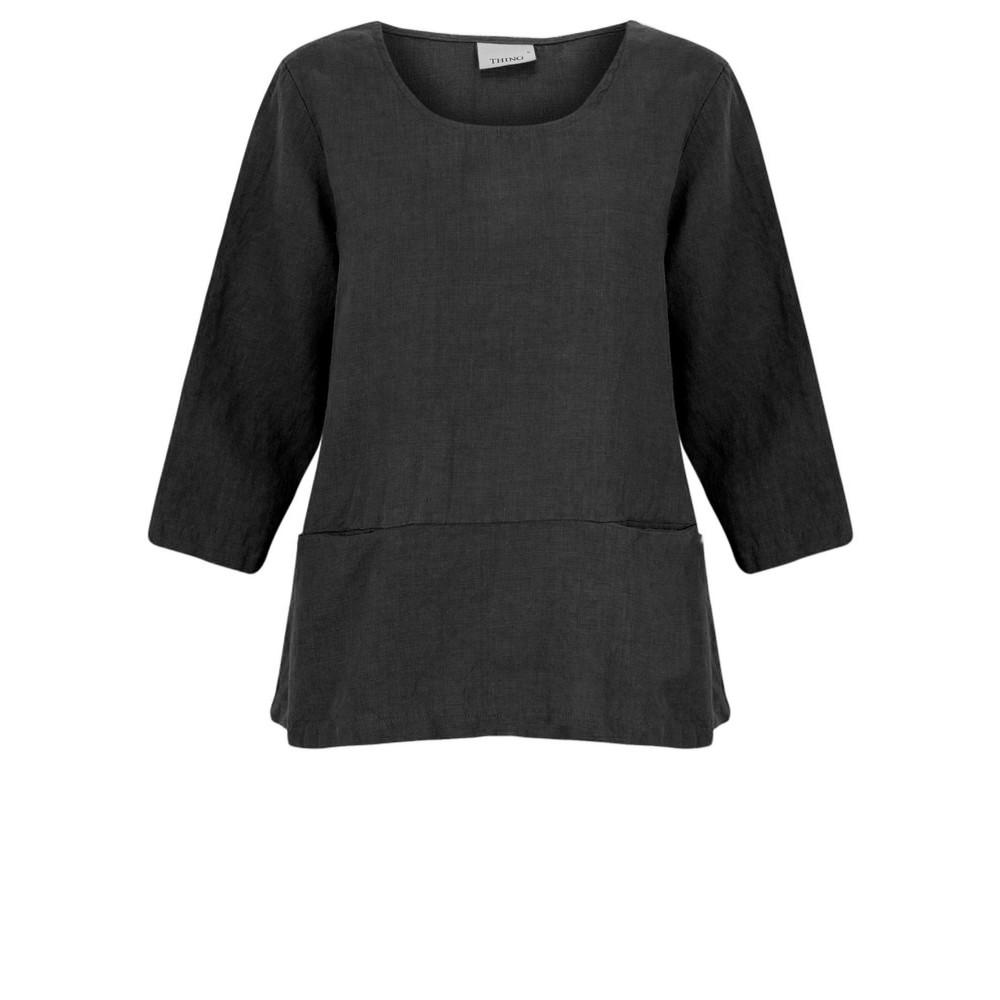 Thing Erin Easyfit 2 Pocket Linen Top Black