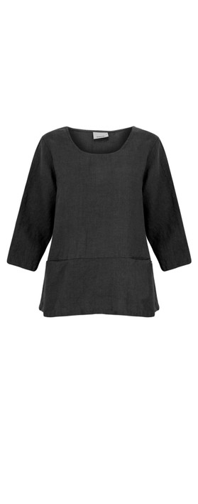 Thing Erin Easyfit 2 Pocket Linen Top Black