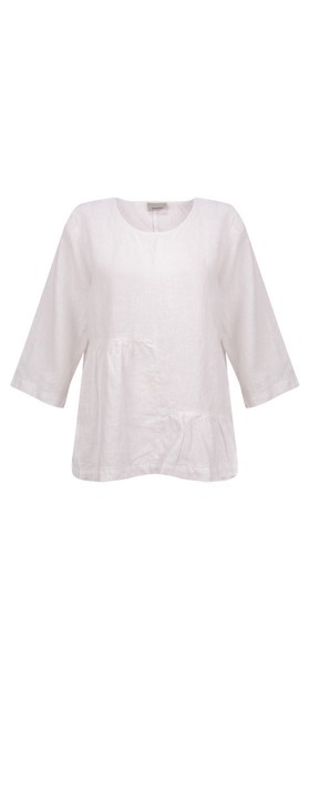 Thing Saffie Easyfit LinenTop with Frill Hem White