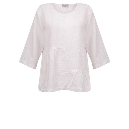 Thing Saffie Easyfit LinenTop with Frill Hem - White