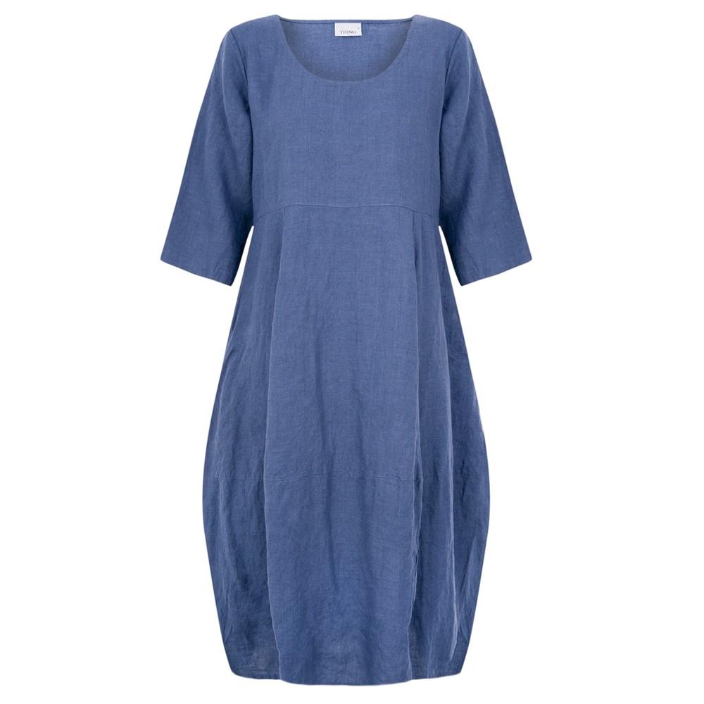 Thing Freya 3/4 Sleeve Linen Dress Sapphire