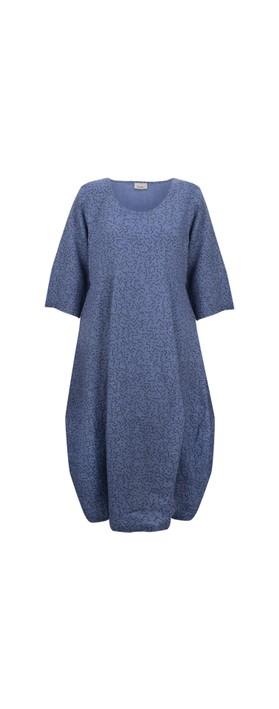 Thing Freya Linen Print Dress Sapphire