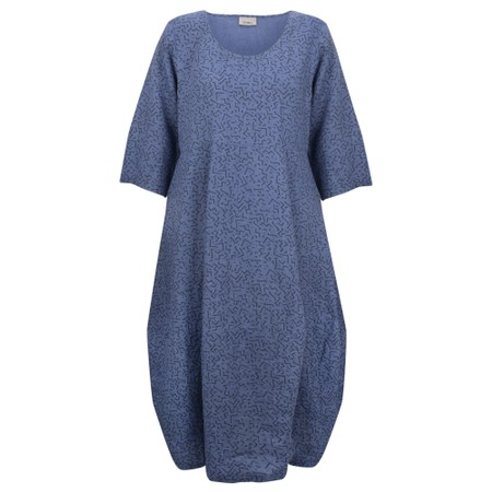 Thing Freya Linen Print Dress - Blue