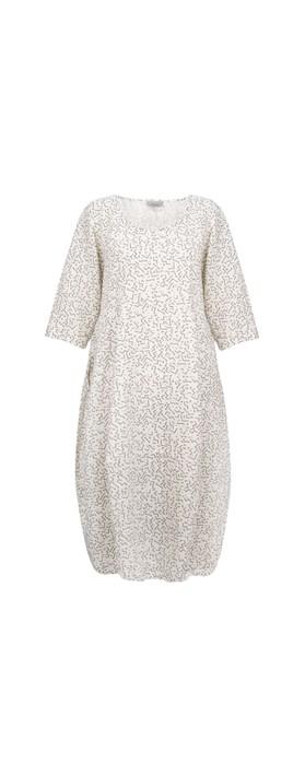 Thing Freya Linen Print Dress Off White