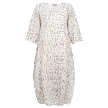 Thing Freya Linen Print Dress - White