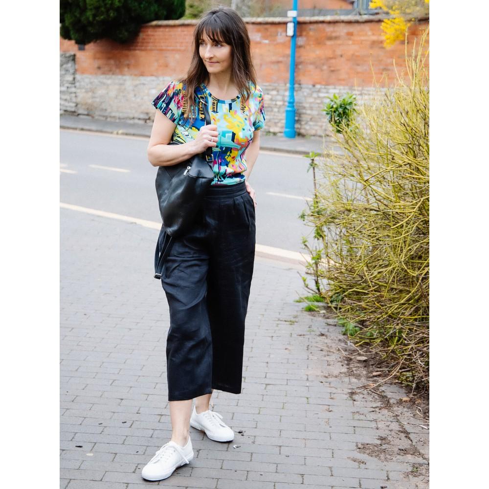 Tirelli Cropped Pocket Linen Pant Black