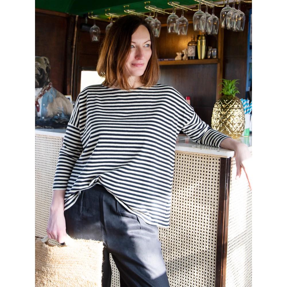 Mama B Ruche Stripe Fleece Top Nero Stripe