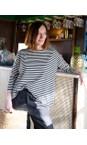 Mama B Nero Stripe Ruche Stripe Fleece Top
