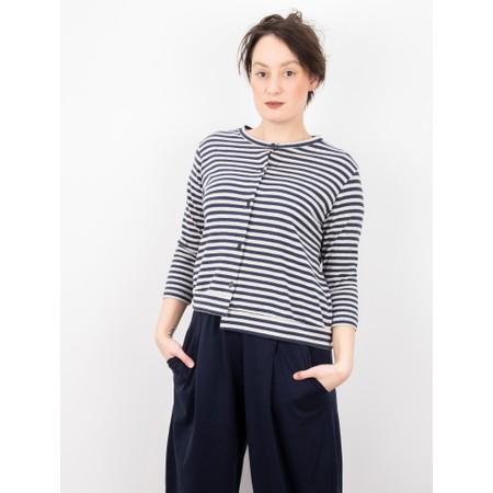 Mama B Erbaluce Stripe Fleece Cardi - Blue
