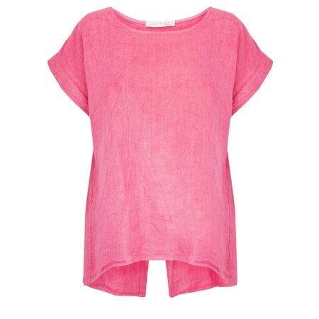 Amazing Woman Melia Short Sleeve Linen Top - Pink