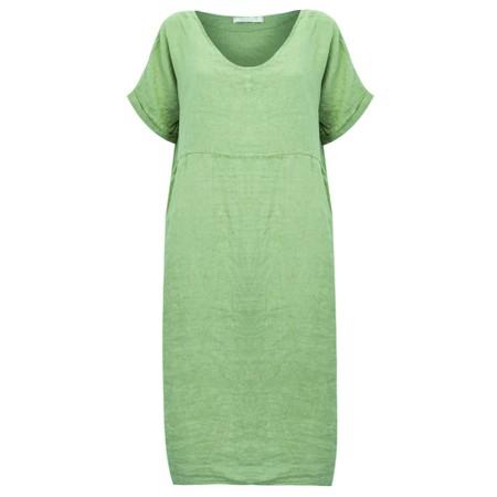 Amazing Woman Tesa Midi Avocado Linen dress - Green