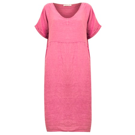 Amazing Woman Tesa Midi Linen dress  - Pink