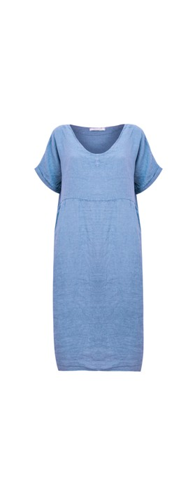 Amazing Woman Tesa Midi Linen dress  Blue