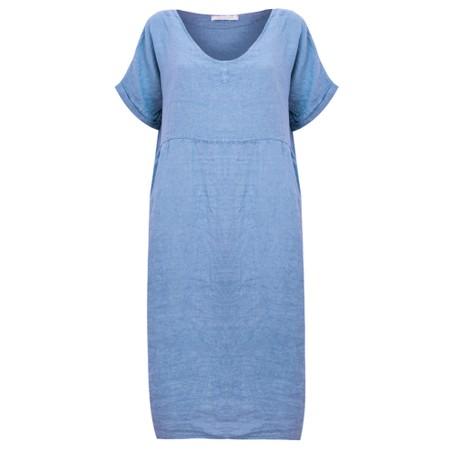 Amazing Woman Tesa Midi Blue Linen dress - Blue