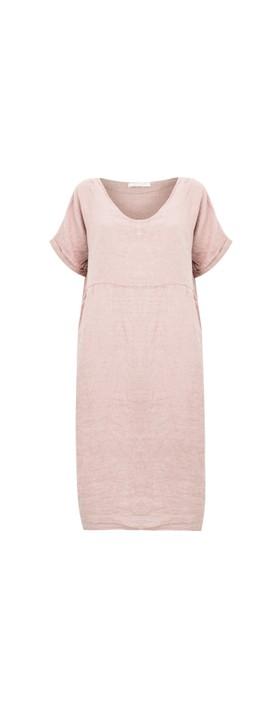 Amazing Woman Tesa Midi Linen dress  Rose Pink