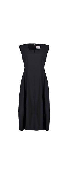 Foil Trapeze Lantern Dress Black