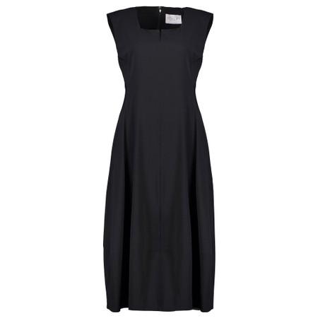 Foil Trapeze Lantern Dress - Black