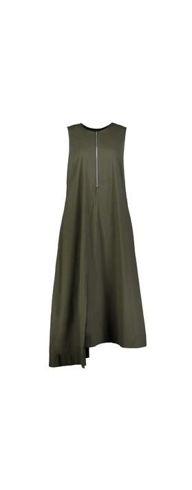 Foil Swede Sensations Trapeze Dress Olive